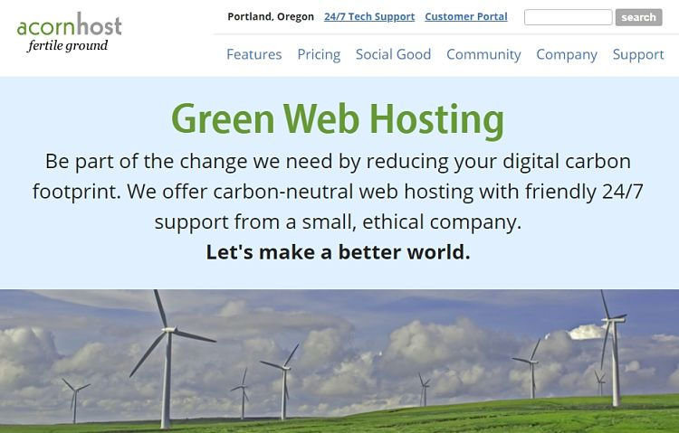 alojamiento web ecologico