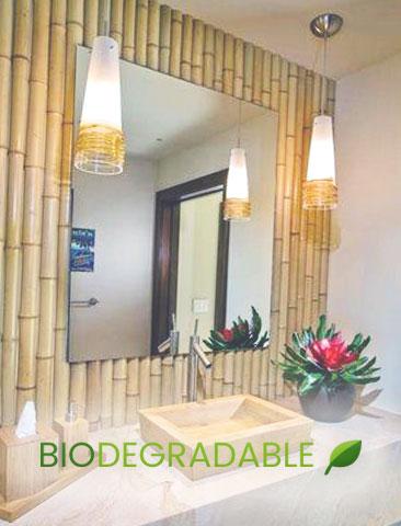 decoracion espejo cañas de bambú