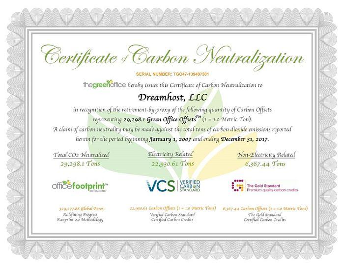 certificacion medioambiental hosting