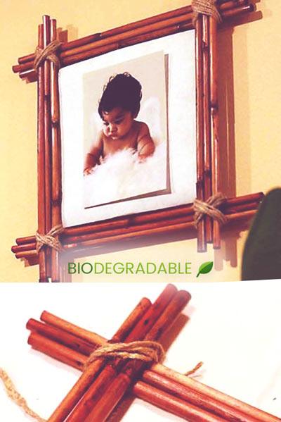 marco de fotos con caña de bambú